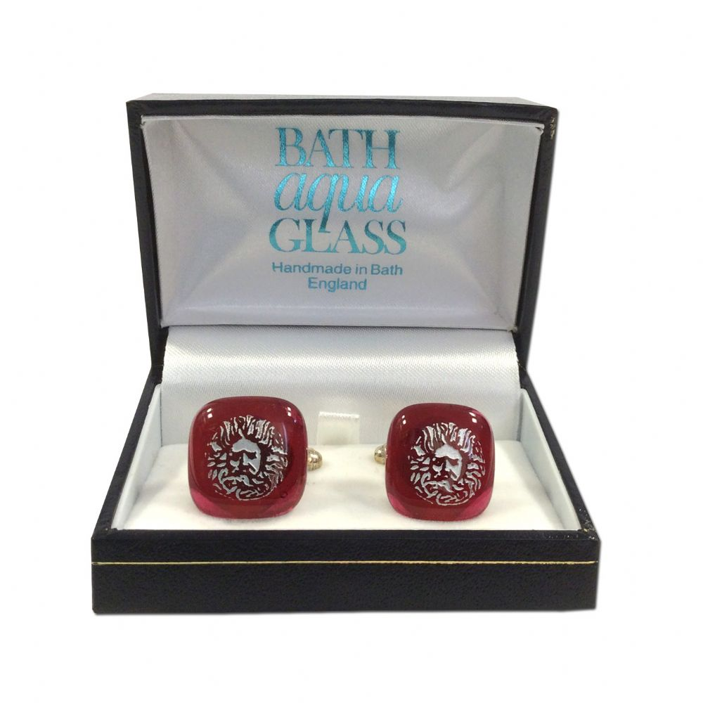 Glass Cufflinks - Berry